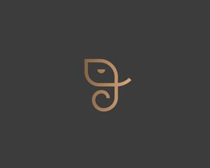 Abstract elephant vector logo design. Creative linear animal gold logotype