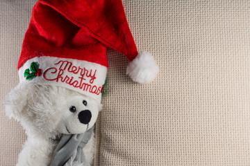 Teddy bear wearing a santa hat Christmas Concept