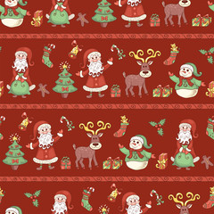 Red line holiday seamless pattern.