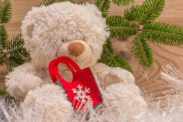 Teddy Bear Christmas Concept Gift Wooden Background