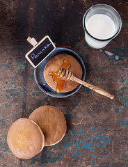 Dorayaki pancakes with honey and milk