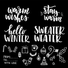 Set of winter lettering and doodles