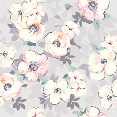 soft watercolor like floral print ~ seamless background
