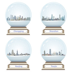 Fototapete - vector snow globes with abstract chinese city skylines inside
