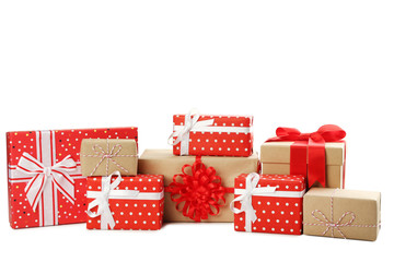 Different kinds of gift boxes with ribbon bow isolated on white