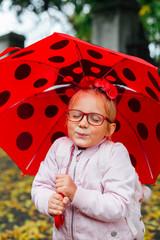 Happy with ladybag umbrella