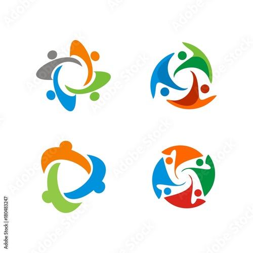 abstract circular human figure adoption teamwork supporting