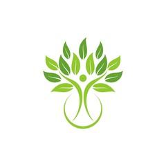 Leaf logo, tree logo, leaf figure logo design template vector illustration