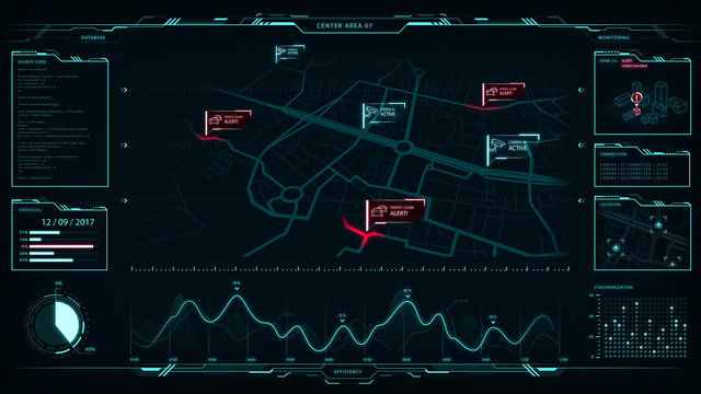 Command center, smart cities, vector graphic