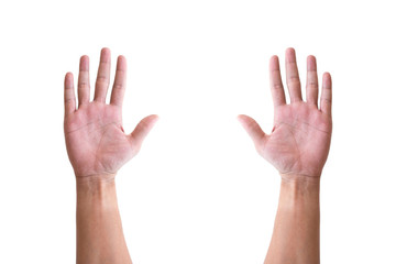 Isolated hands raising up
