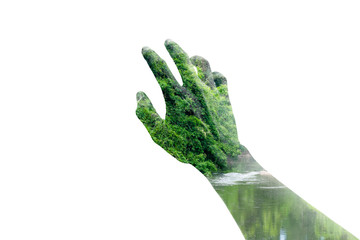 Double exposure reaching hand and forest