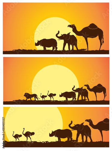 Wild Animals Silhouettes in Sunset Vector