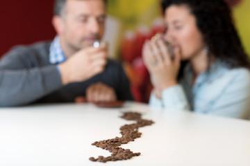 drinking organic coffee