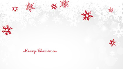 Christmas light background with white and red snowflakes and red Merry Christmas text - light version