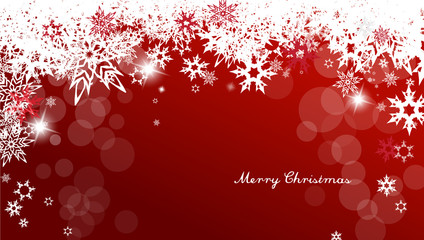 Christmas background with white and red snowflakes and red Merry Christmas text - light version