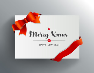 Christmas greeting card with Merry Xmas wishes and red ribbon.