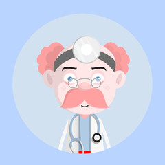 Unamused Face - Cartoon Cardiologist Doctor Character Vector