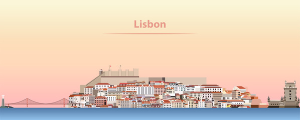 vector abstract illustration of Lisbon city skyline at sunrise