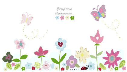 Beauty spring flowers, butterfly cute flowers. Spring time background