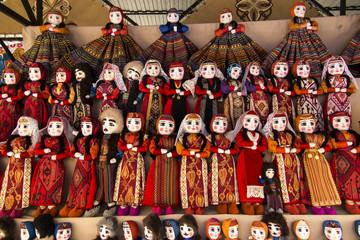 colorful rag dolls as souvenirs from Armenia