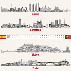 Fototapete - Vector skylines of Madrid, Barcelona, Lisbon and Porto cities in grey scales color palette. Flags and maps of Spain and Portugal. Navigation and location icons.