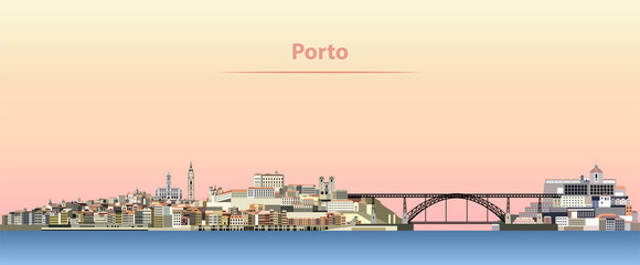 vector abstract illustration of Porto city skyline at sunrise
