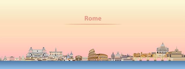 vector Rome city skyline at sunrise