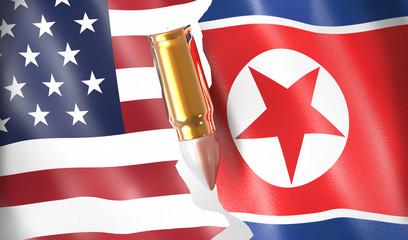 broken American and Korean flag and bullet, war between States