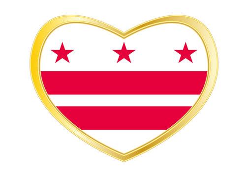 Flag of Washington, D.C. in heart shape Gold frame