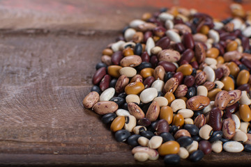 Variety of protein rich colorful raw dried beans