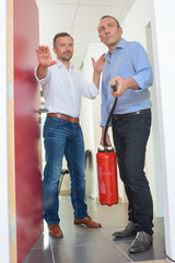 using fire extinguisher in a office