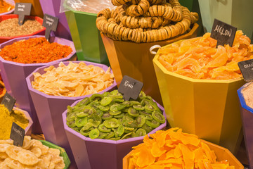 Dried fruits in colorful pots for sale - Kemer, Turkey