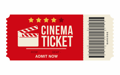 Cinema ticket isolated on white background. Realistic cinema or movie ticket template