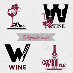 Set of badges and labels elements for wine. Quality logos in vector for wine industry. Can be used for companies which produce natural organic wine, to identify the brand graphics.