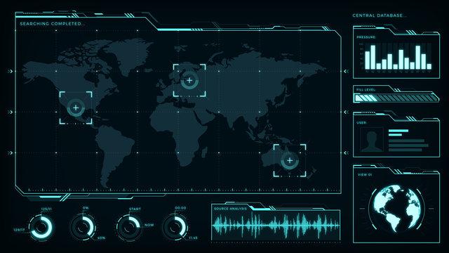HUD elements pack, transparent displays, command center, smart cities, interface design vol3