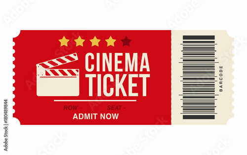 Cinema Ticket Isolated On White Background. Realistic Cinema Or Movie  Ticket Template  Movie Theater Ticket Template
