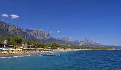 Beach on the Mediterranean Sea with a view on the mountain. Kemer, Turkey