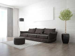Mock up a modern living room with a fashionable sofa and a light background.