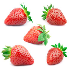 Set of five perfectly cleaned strawberries with leaves isolated on the white background with clipping path.