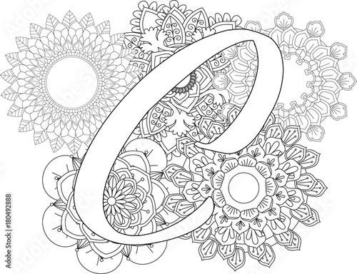 Mandala C Monogramlogo Doodle Floral Letters Coloring Book For Adult