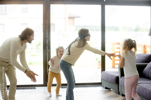"""Hide Seek Kids: """"Blindfolded Mother Playing Hide And Seek Game With Father"""
