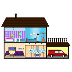 vector illustration of houses in the cut view from the room interiors on white background