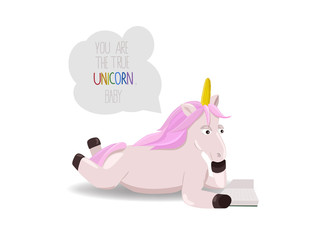 Unicorn with pink hair reads a book isolated on white background. Magic creature and motivational quote. Unicorn lying and reading.