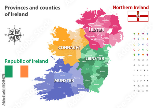 Provinces and counties of Ireland vector map\