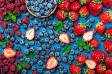 Fresh berries strawberry, blueberry, raspberry. Various fresh summer berries. Top view