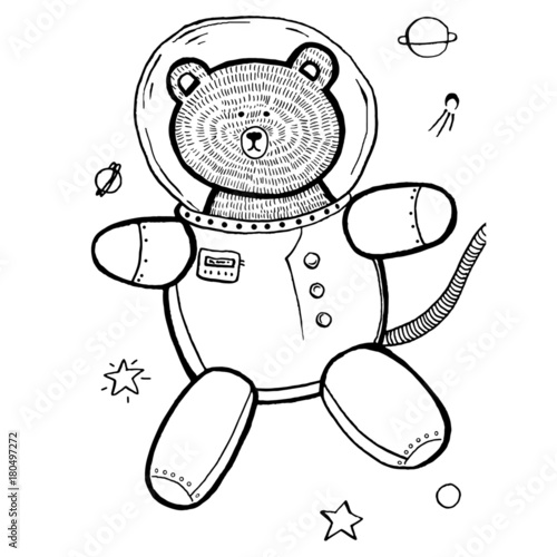 Original Cute Vector Illustration Of Astronaut Teddy Bear In
