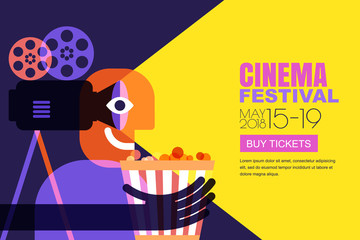 Vector cinema festival poster, flyer background. Abstract sale tickets banner background. Movie time and entertainment concept. Man with popcorn and camera, trendy flat illustration.