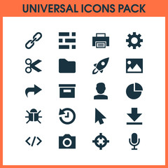 User Icons Set. Includes Icons Such As Virus, Mike, Base And Other.
