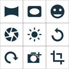 Image Icons Set. Includes Icons Such As Smile, Angle, Focus And Other.