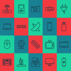Device Icons Set. Includes Icons Such As Telephone, Extension Cord, Switch And Other.